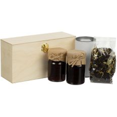 Набор Jam Beam: варенье клубничное, варенье вишневое, черный чай «Таежный сбор», шкатулка с тремя отделениями TriniTea, светлое дерево фото
