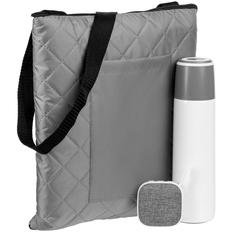 Набор Junket: плед для пикника Soft & Dry, термос Heater, беспроводная колонка Chubby, белый / серый фото