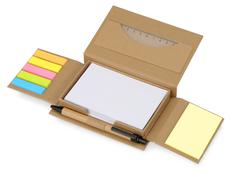 Набор канцелярский для записей Stick Box: бумага для записей, стикеры, линейка, ручка, крафт фото