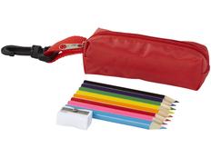 Набор цветных карандашей в чехле с карабином, 8шт, темно-красный фото