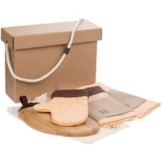 Набор Very Marque Keep Palms: фартук, доска разделочная, набор кухонных полотенец, прихватка, оранжевый фото