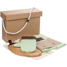 Набор Very Marque Keep Palms: фартук, доска разделочная, набор кухонных полотенец, прихватка, зеленый фото