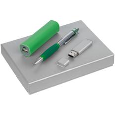 Набор Keymark: внешний аккумулятор Easy Shape 2000 mAh, флешка Silver Lining 16 Гб, ручка шариковая Boomer, серебристый / зеленый фото