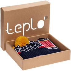 Набор teplo Knick Knack: шапка детская, шарф детский, варежки детские, темно-синий/ оранжевый фото