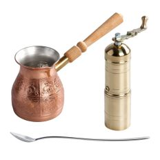 Набор Кофеист: кофемолка, турка, кофейная ложка, золотистый фото