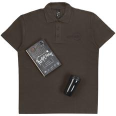 Набор «Кофеман»: рубашка поло, термостакан Sagga, книга, черный фото