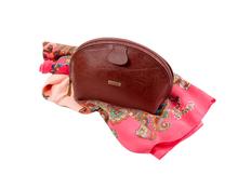 Набор: косметичка, платок (кожа, шелк/полиэстер, цвет коричневый/разноцветный) фото