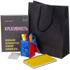 Набор «Креативность»: книга, пенал-подставка Standpoint, блокнот Stick, набор маркеров Liqeo, набор стикеров Motley Stick, желтый фото