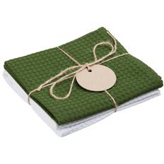 Набор кухонных полотенец Good Wipe, белый с зеленым фото