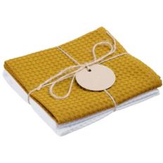 Набор кухонных полотенец Good Wipe, белый с желтым фото