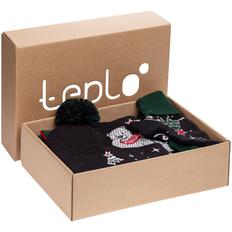 Набор teplo Куранты: джемпер, шапка, шарф, варежки, черный/ зеленый фото
