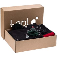 Набор teplo Куранты: шапка, шарф, варежки, плед, черный/ разноцветный фото