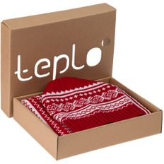 Набор teplo Lambient: шапка, шарф, красный/ белый фото