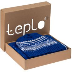 Набор teplo Lambient: шапка, шарф, синий/ белый фото