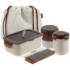 Набор для пикника Indivo greenMeal: ланч-бокс, контейнеры 360 и 420 мл, столовые приборы, сумка, бежевый / коричневый фото