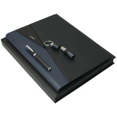 Набор Ungaro Lapo: папка с блокнотом А4, роллер и флешка 16 Гб, черный фото