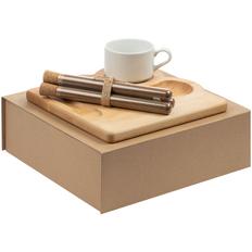 Набор Lark: поднос деревянный, чашка Stackable, набор специй Spicy Stick для кофе, бежевый / белый фото
