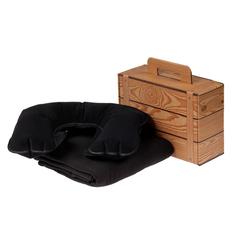 Набор Layback: надувная подушка под шею Sleep, флисовый плед Warm&Peace, черный фото