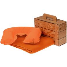 Набор Layback: надувная подушка под шею Sleep, флисовый плед Warm&Peace, оранжевый фото