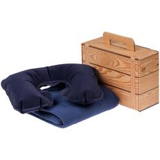 Набор Layback: надувная подушка под шею Sleep, флисовый плед Warm&Peace,, синий фото