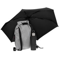 Набор Loiter: термобутылка Sherp, складной зонт Cameo, рюкзак Reliable, черный фото