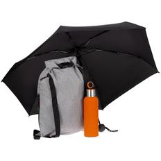 Набор Loiter: термобутылка Sherp, складной зонт Cameo, рюкзак Reliable, оранжевый / черный фото