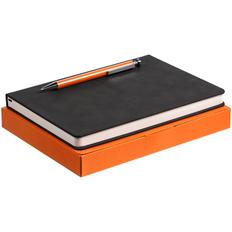 Набор Magnet: ежедневник Magnet, ручка шариковая Attribute, черный / оранжевый фото