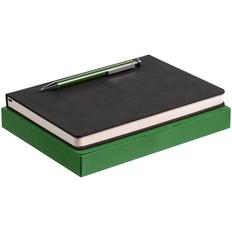 Набор Magnet: ежедневник Magnet, ручка шариковая Attribute, черный / зеленый фото