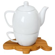 Набор Мария: чайник и чайная пара в подарочной упаковке, белый, коричневый фото
