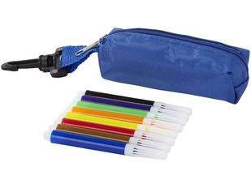 Набор цветных маркеров в чехле с карабином, 8шт, синий фото