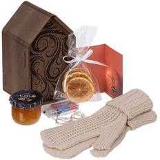 Набор Marmalade: декоративная шкатулка Lighthouse, гирлянда, варежки Nordkyn, джем, апельсиновые чипсы, открытка, бежевый фото