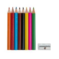 Набор Migal: цветные карандаши 8 шт, точилка, чехол на карабине, белый фото