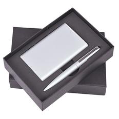 Набор Mirror: ручка шариковая, внешний аккумулятор 6000 mAh, кабель 3 в 1, серебристый фото