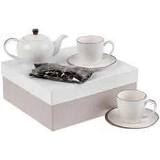 Набор Molti Grainy: 2 чайные пары, чайник, чай «Таежный сбор», белый / пыльно-розовый фото