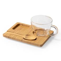 Набор Morkel: чашка, ложка и подставка из бамбука, светлое дерево/ прозрачный фото