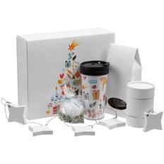 Набор Mug Snug: термокружка, чай, свеча, имбирные пряники, белый фото