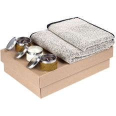 Набор My Shambala: полотенце Eden Medium, полотенце Eden Small, свечи Nightfall 3 шт, серый фото