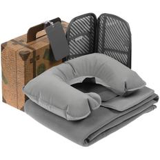 Набор My Way ver.2: флисовый плед Warm&Peace, органайзер для путешествий Dundee, надувная подушка под шею Sleep, багажная бирка Dorset, серый фото