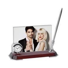 Набор настольный с часами, с ручкой и фоторамкой фото