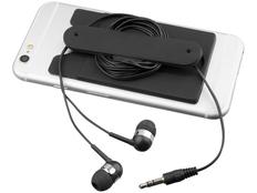 Набор: наушники проводные внутриканальные, картхолдер силиконовый, черный фото