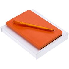 Набор Neat: ежедневник недатированный А6, ручка шариковая Prodir DS3 TFF, оранжевый фото