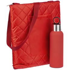 Набор Nest Rest: плед для пикника Soft&Dry, термобутылка Sherp, красный фото
