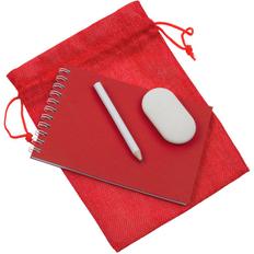 Набор Nettuno Mini: блокнот в клетку Nettuno Mini, ластик All Clear, карандаш простой Mini, красный / белый фото