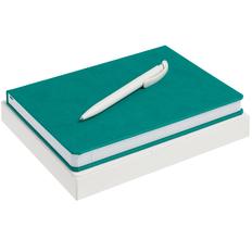 Набор New Brand: ежедневник New Brand, ручка шариковая Clear Solid, бирюзовый фото