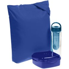 Набор Nibble: бутылка для воды и ланч-бокс в холщовой сумке, синий фото