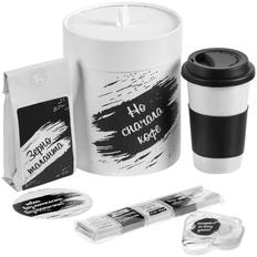 Набор Но сначала кофе: кружка, наушники, кофе в зернах, шоколад, костер, чёрный / белый фото