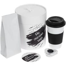 Набор «Но сначала кофе»: кружка FarFor, кофе в зернах, наушники-вкладыши Pocket Musician, костер под кружку, белый / черный фото