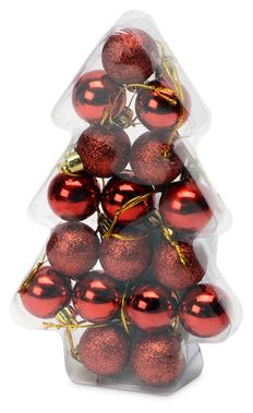 Набор новогодних шаров в футляре-елочке, красный фото