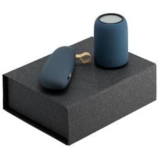 Набор Palm Beach: внешний аккумулятор Pebble 2600 мАч, беспроводная bluetooth колонка Uniscend Grinder, серый/ синий фото