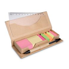 Набор: разноцветные стикеры, закладки, линейка, ручка шариковая из картона, коричневый фото